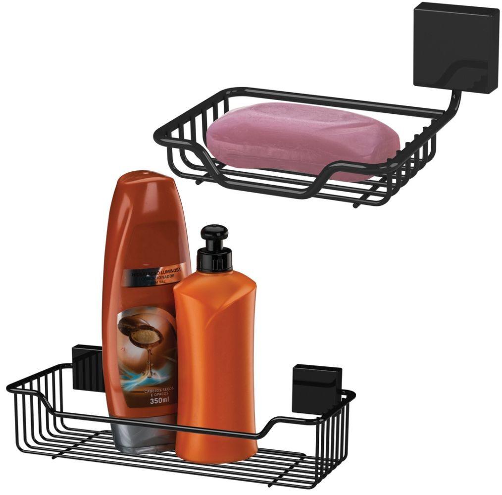 Saboneteira e Porta Shampoo Future Fixação Parafuso Preto