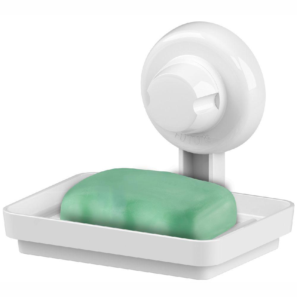 Saboneteira Porta Sabonete Fixação por Ventosa Em ABS - Branco
