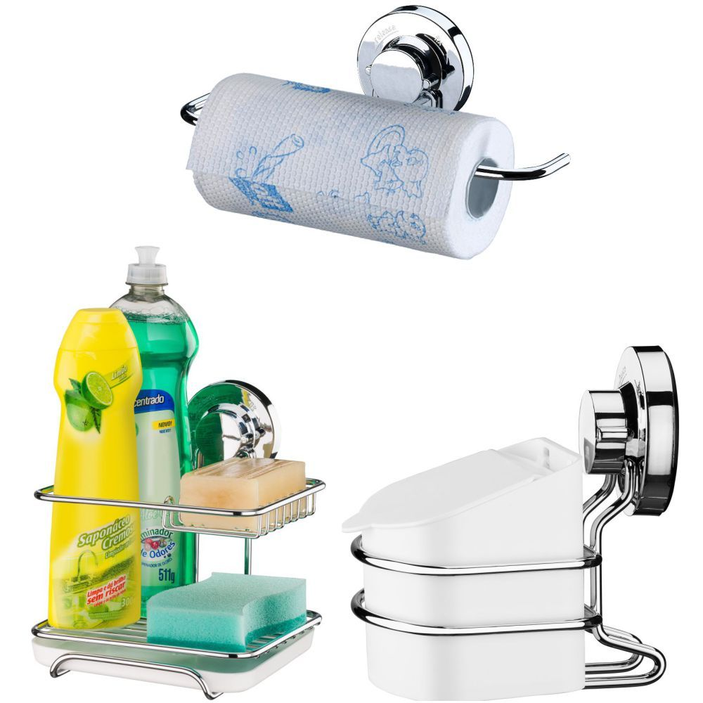 Saleiro 500g Cozinha Ventosa C/ Suporte Sabão/Detergente