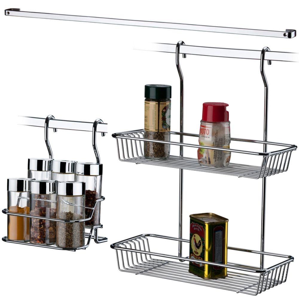 Kit Cozinha Suspensa com barra e Porta Condimentos