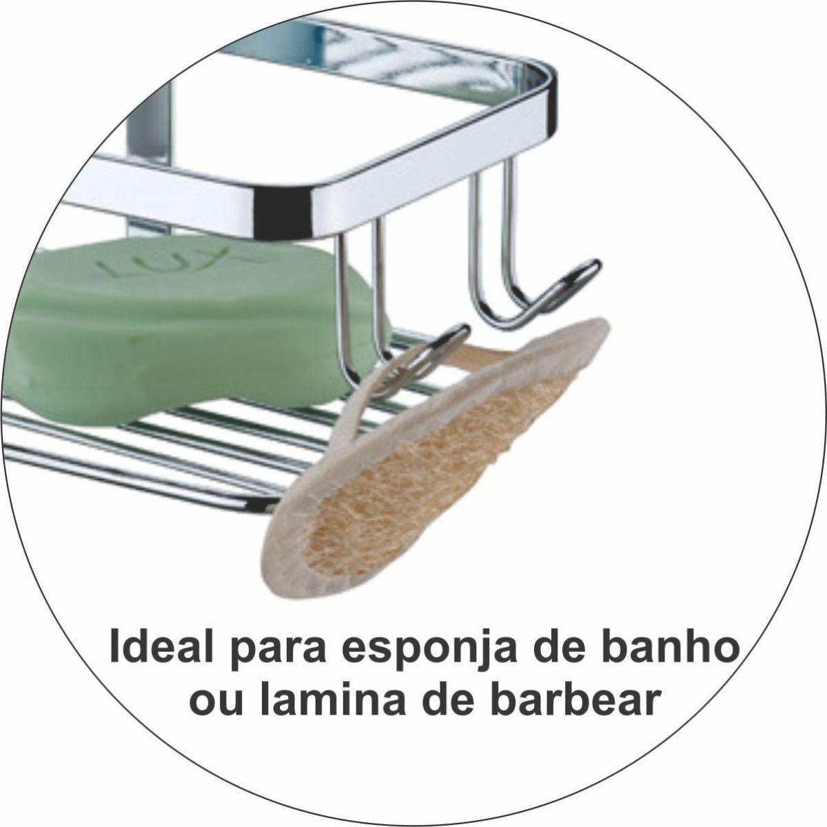 Suporte Cantoneira Dupla Para Shampoo Toalheiro de Box 45cm
