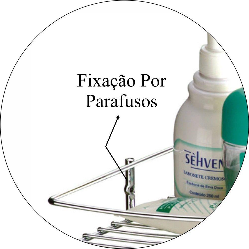 Suporte Cantoneira Shampoo E Sabonete De Parede - Aço Cromado