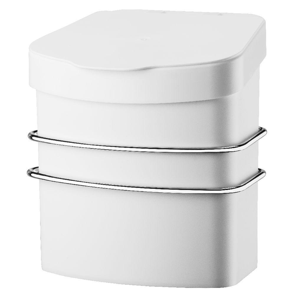 Suporte Com Lixeira 2,5 litros Branca Fixação por Ventosa -  Aço Cromado