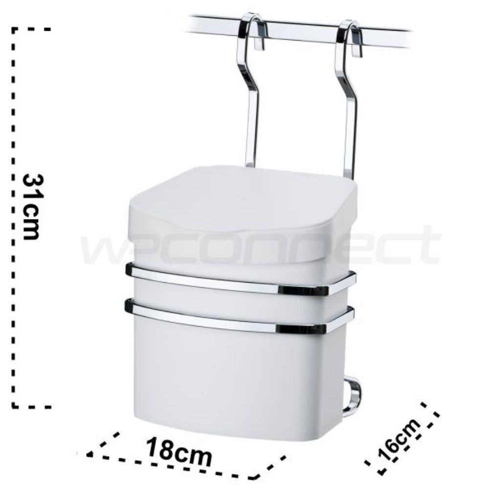 Suporte Com Lixeira Plástica 2,5 Litros Para Barra De Cozinha - Aço Cromado