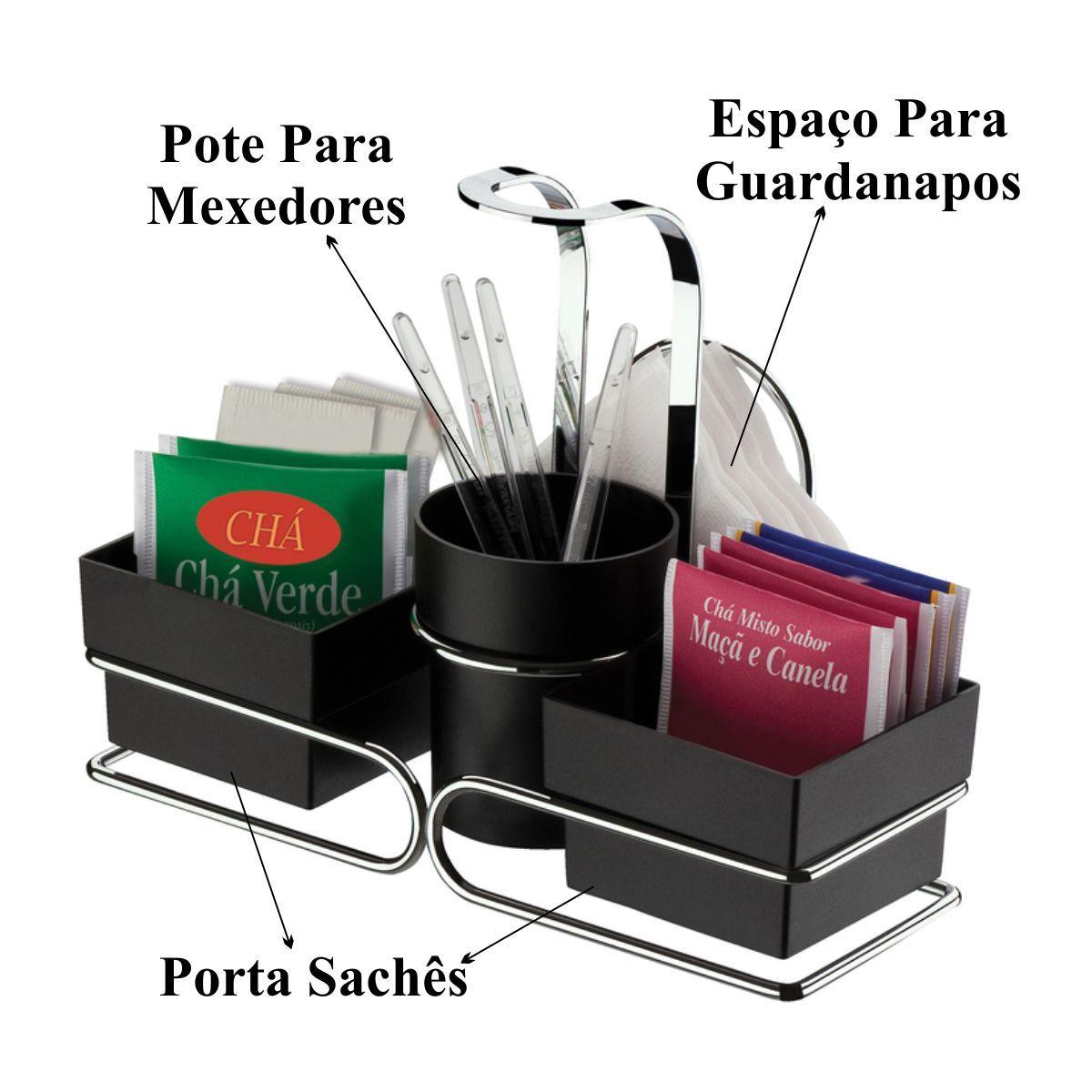 Suporte com Porta Sachês Café Chá Açúcar Palito Guardanapo  - Aço Cromado
