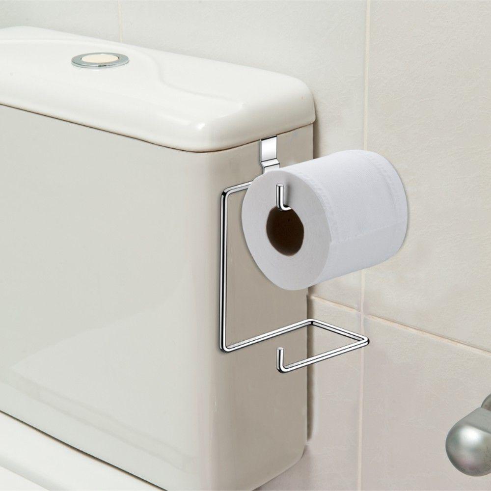 Suporte De Papel Higiênico Duplo Para Encaixar Na Caixa De Descarga - Aço Cromado