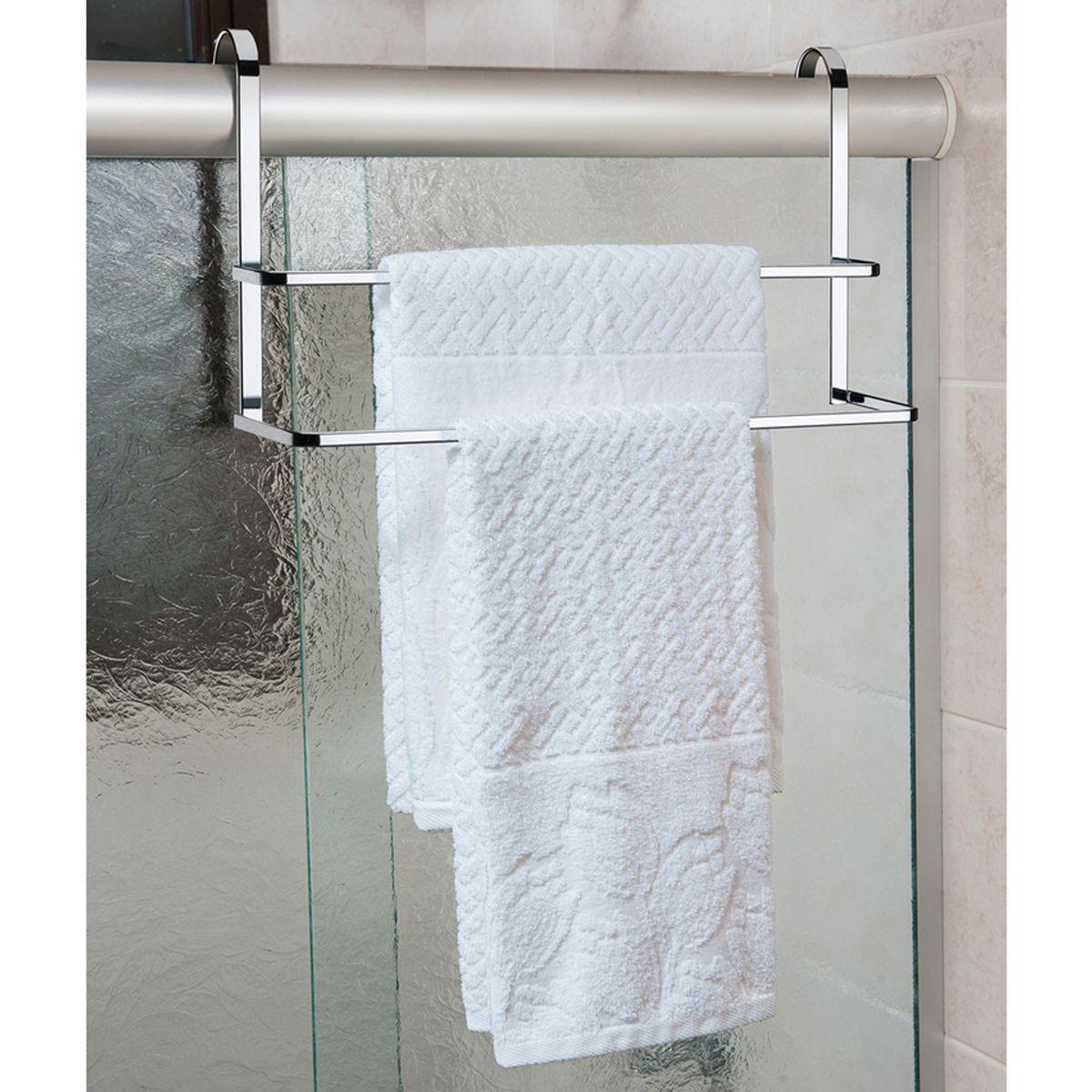 Suporte de Parede Para Shampoo Toalheiro Duplo de Box Cromado