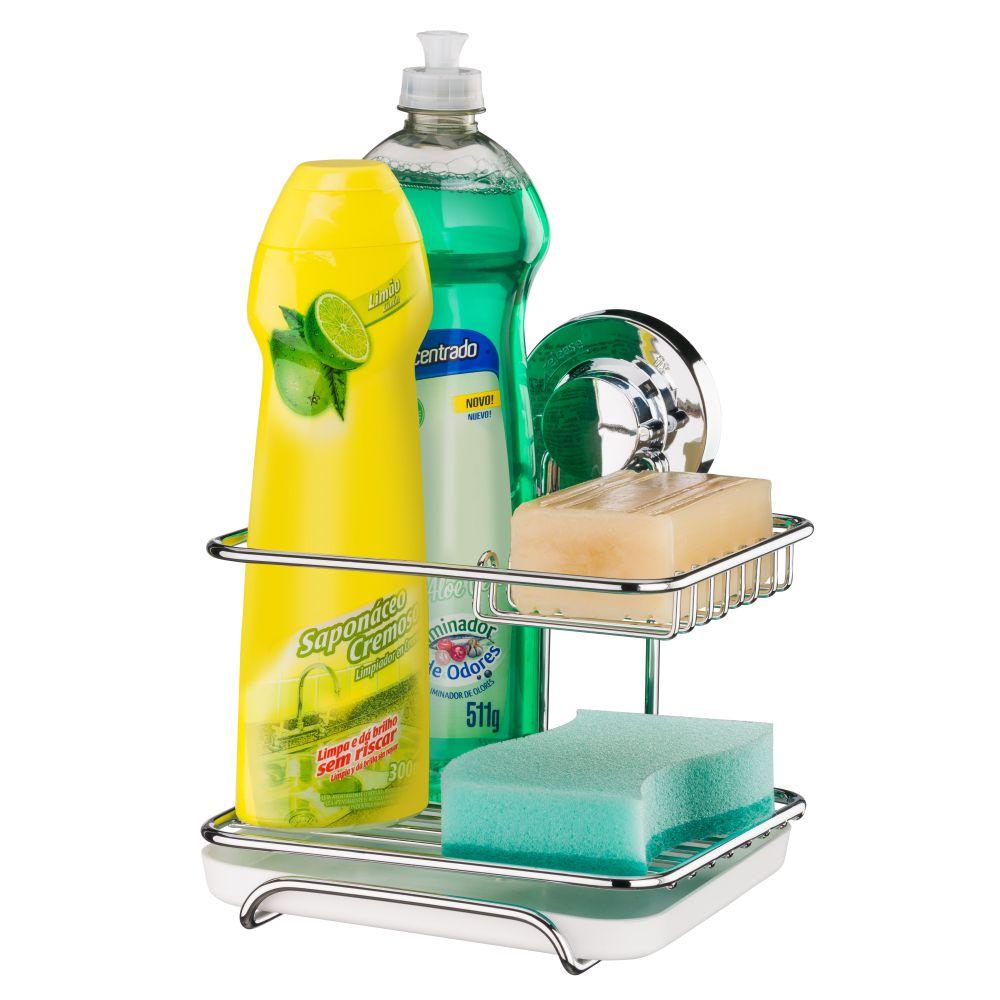 Suporte Para Sabão, Detergente e Esponja Fixação por Ventosa - Aço Cromado