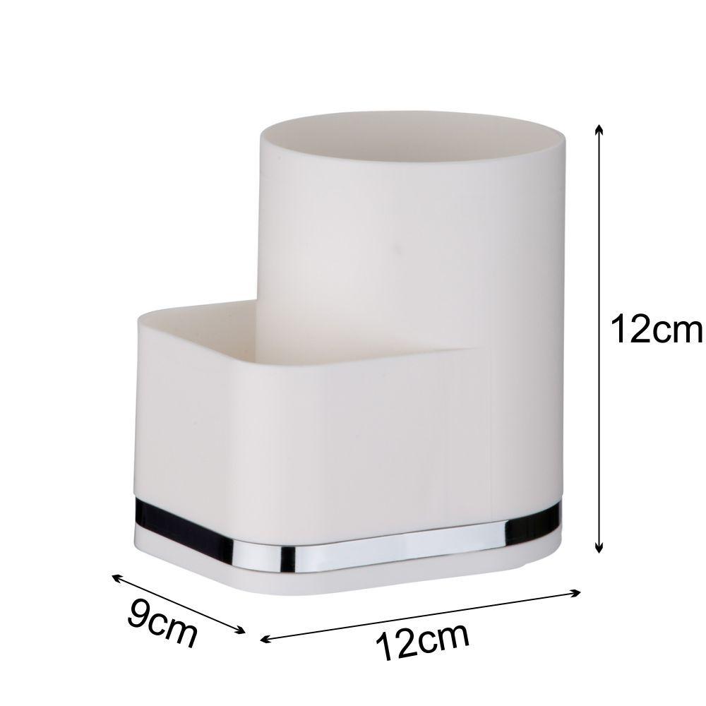 Suporte Detergente e Esponja Organizador Em Plástico PS Eleganza - Branco