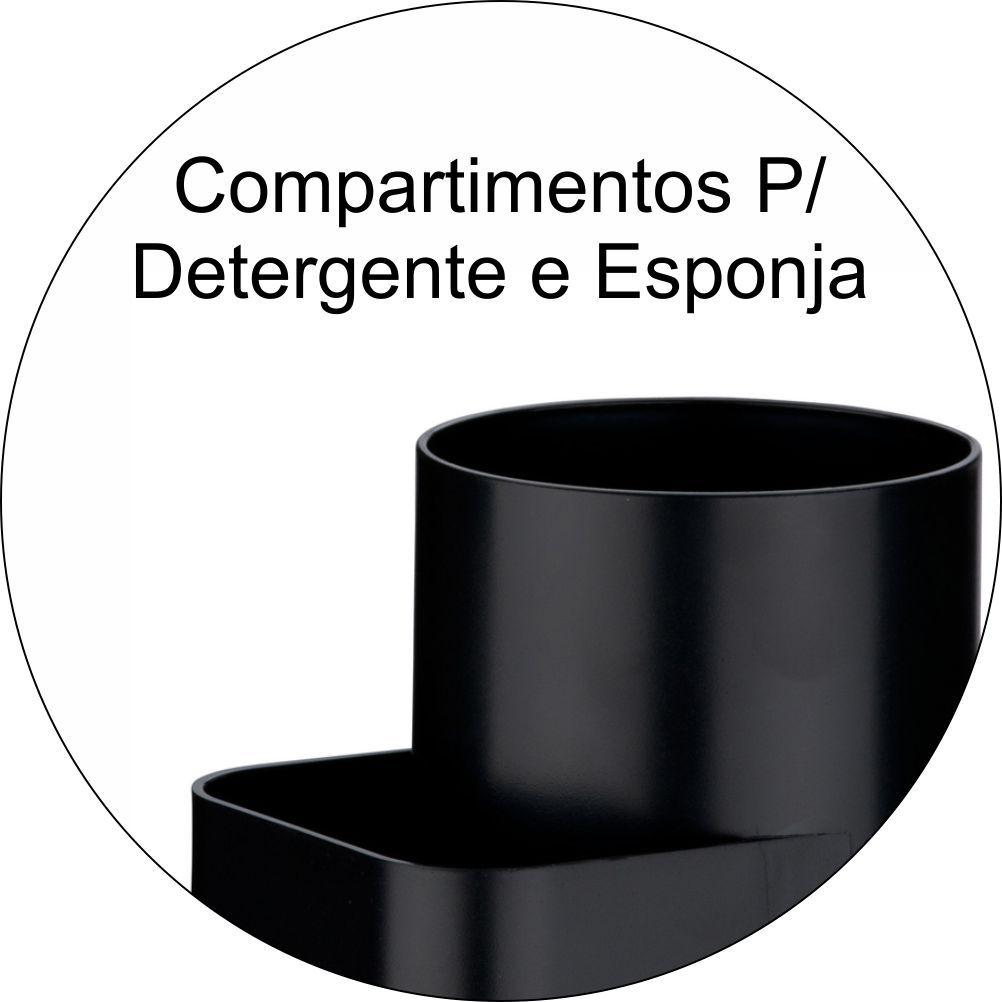 Suporte Detergente e Esponja Organizador Em Plástico PS Eleganza - Preto