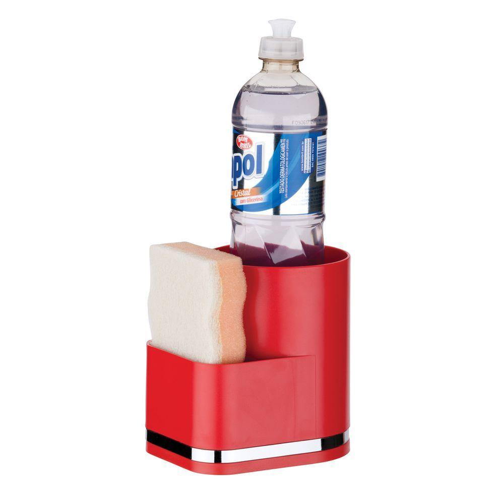 Suporte Detergente e Esponja Organizador Em Plástico PS Eleganza - Vermelho