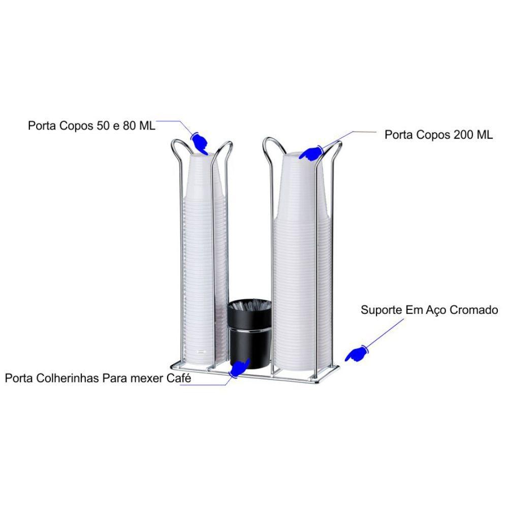 Suporte Dolce Gusto 32 Cápsulas e Suporte Porta Copos Descartáveis 200ml 80 ml 50ml