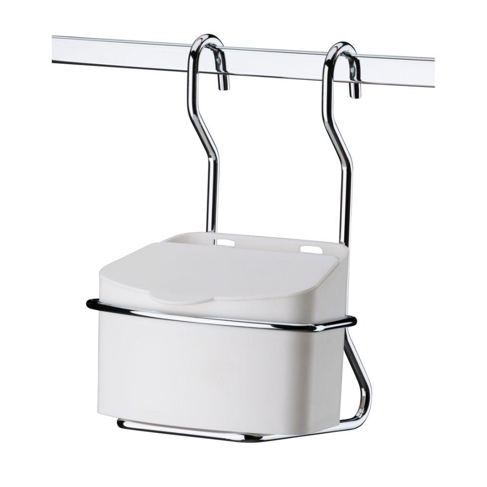 Suporte com Saleiro Em Plástico 500g Branco  para Barra de Cozinha - Aço Cromado