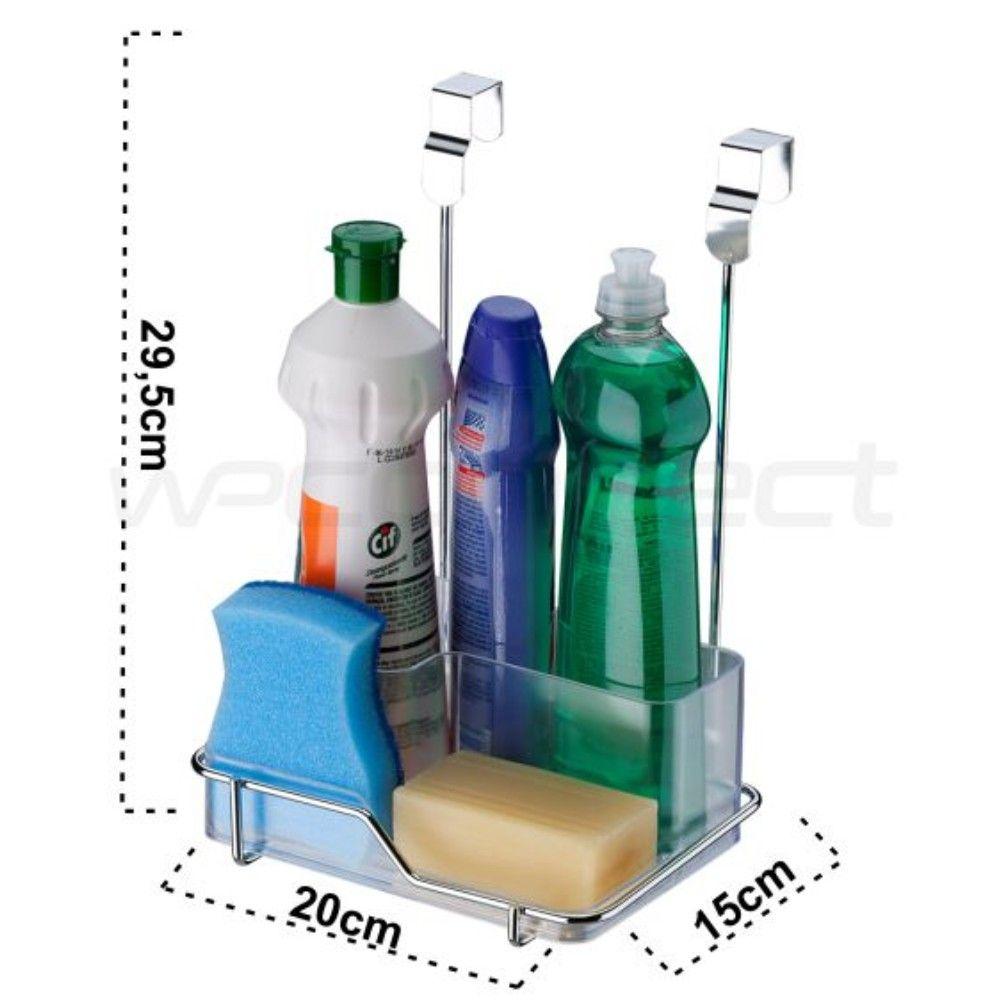 Suporte Organizador Para Porta De Armário Produtos de Limpeza - Aço Cromado