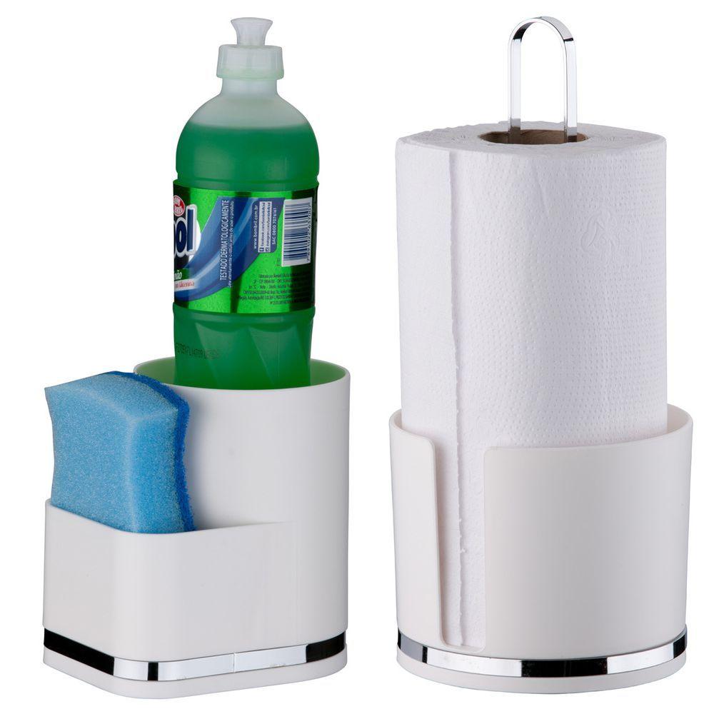 Suporte P/ Detergente Esponja Porta Rolo Papel Toalha Eleganza