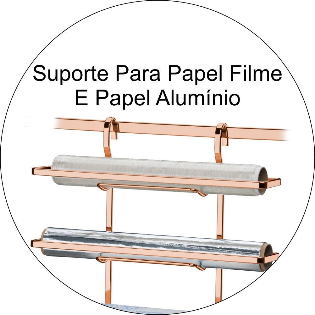 Suporte Para Barra 3 em 1 Rolo Papel Toalha Alumínio PVC - Cobre