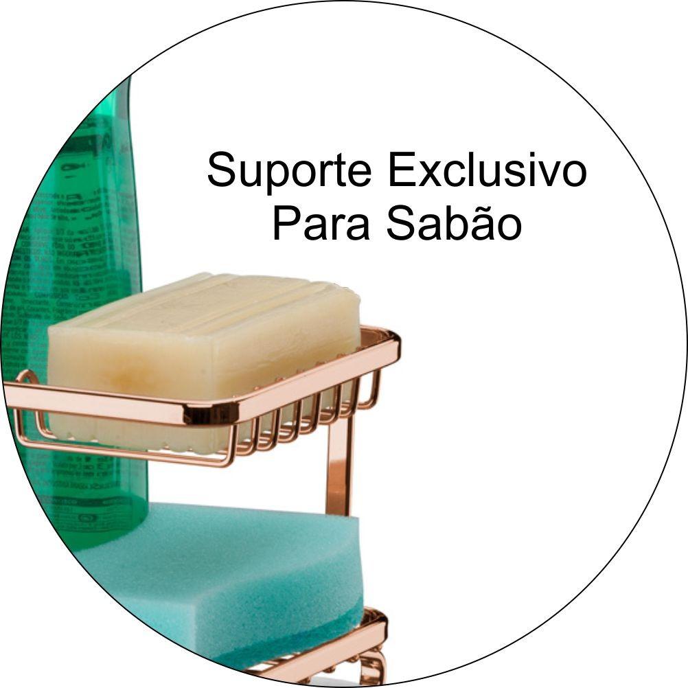 Suporte Detergente Sabão e Esponja Com Bandeja P/ Barra - Cobre