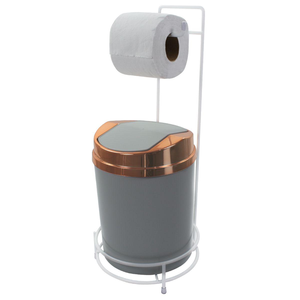 Suporte Para Papel Higiênico Branco Lixeira Basculante Cobre 5 Litros