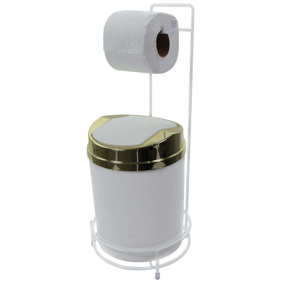 Suporte Para Papel Higiênico Branco Lixeira Basculante Dourada 5 Litros