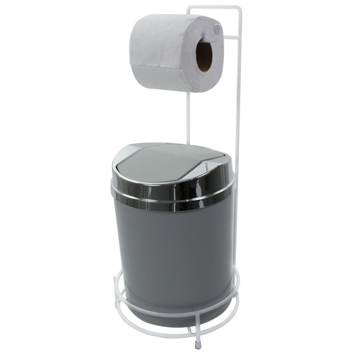 Suporte Para Papel Higiênico Branco Lixeira Basculante Prata 5 Litros