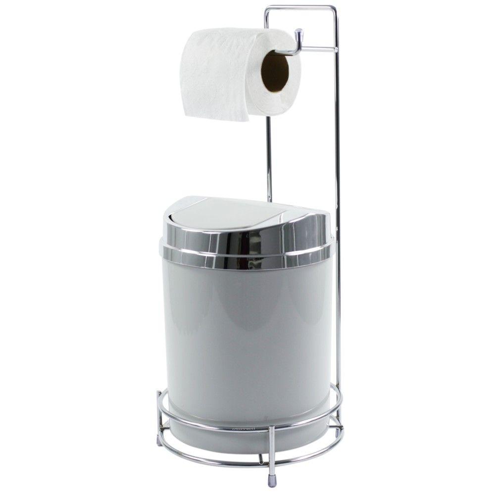 Suporte Para Papel Higiênico Com Lixeira Basculante Prata 5 Litros