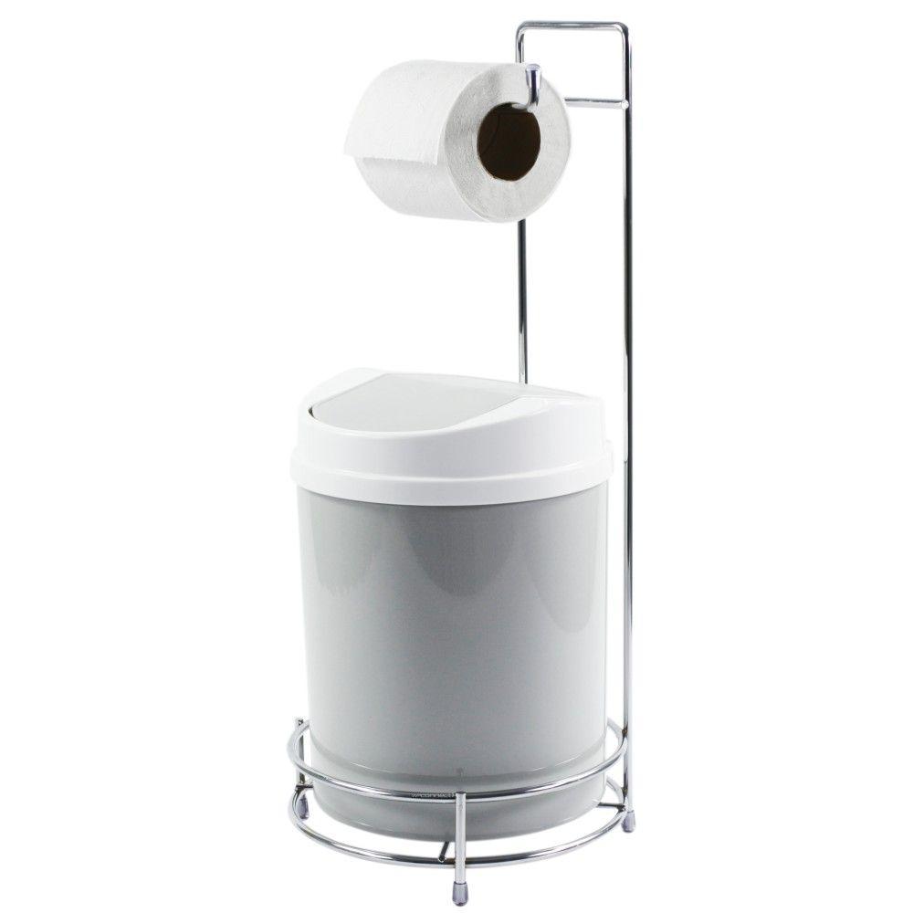 Suporte Para Papel Higiênico Com Lixeira Basculante Branca 5 Litros
