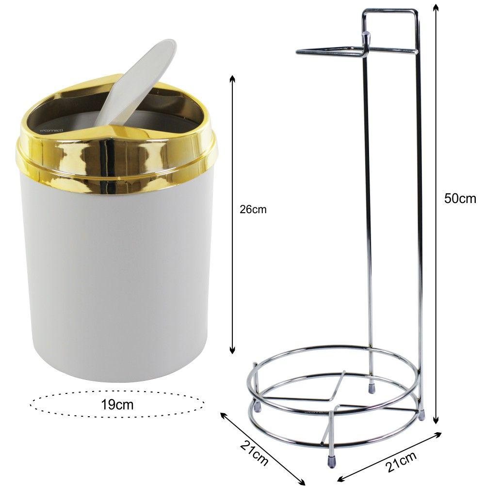 Suporte Para Papel Higiênico Com Lixeira Basculante Dourada 5 Litros