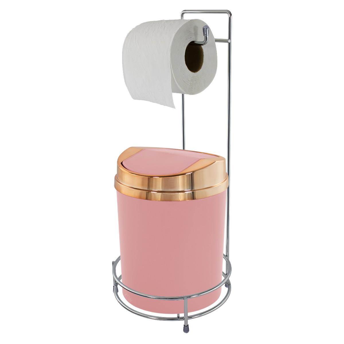 Suporte Para Papel Higiênico Com Lixeira Basculante Rosé Gold 5 Litros