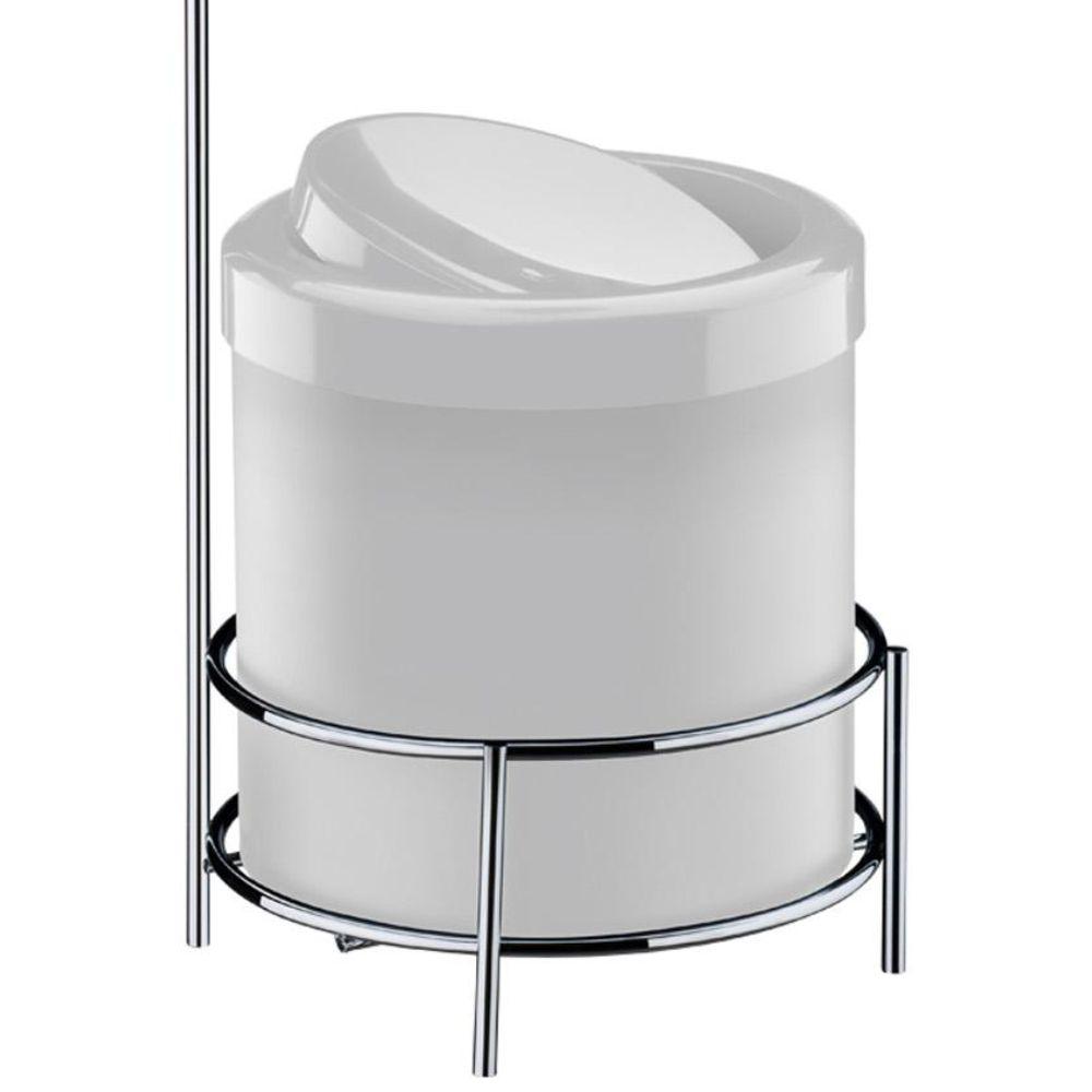 Suporte Para Papel Higiênico Com Lixeira Branca 5 Litros - Aço Cromado