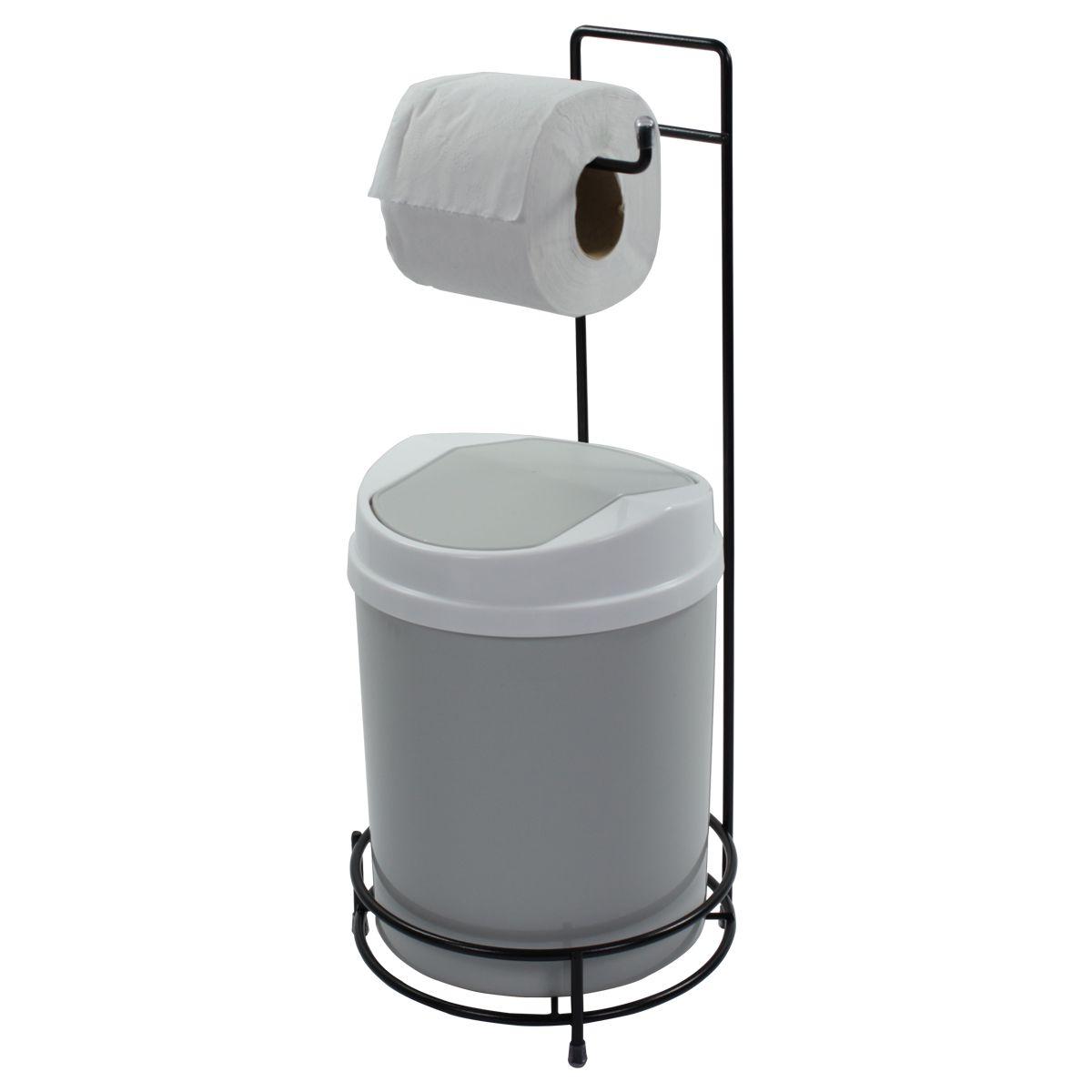 Suporte Para Papel Higiênico Preto Lixeira 5 Litros Basculante