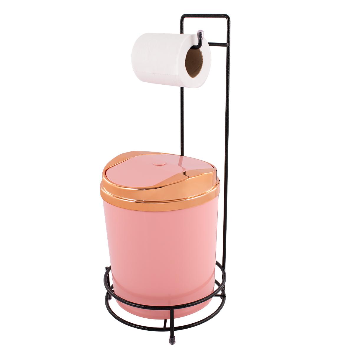 Suporte Para Papel Higiênico Preto Lixeira 5 Litros Basculante Cobre