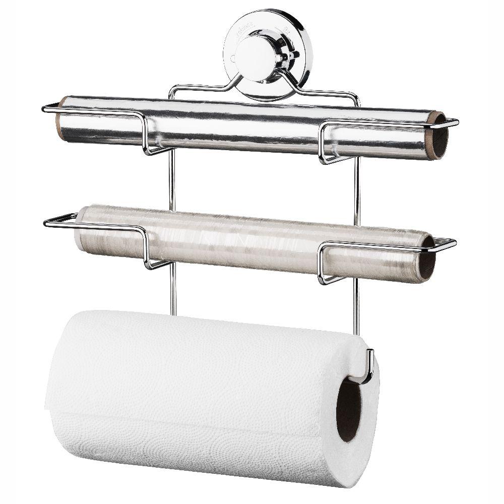 Suporte Papel Toalha Aluminio e  Filme Com Ventosa -  Aço Cromado