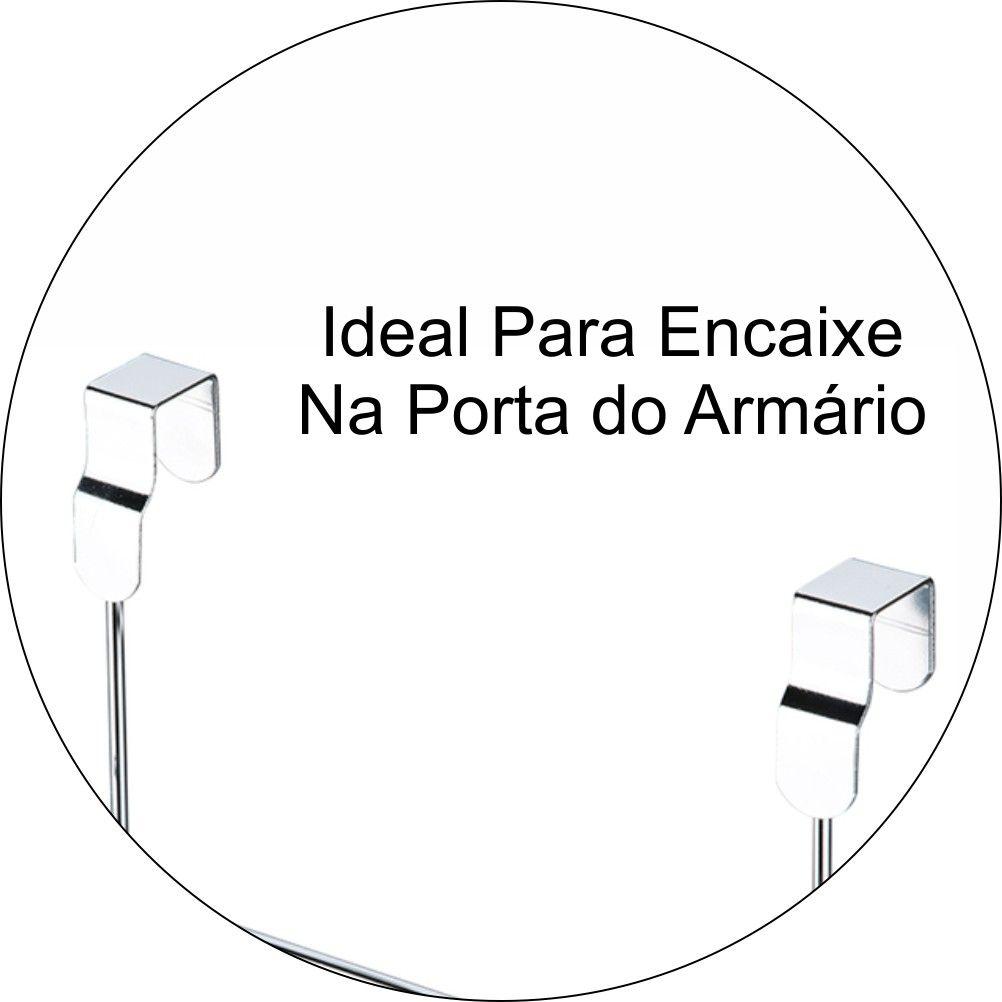 Suporte Para  Rolo De Papel Toalha Para Porta De Armário - Aço Cromado