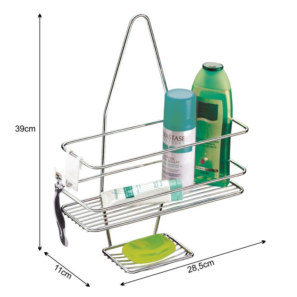 Suporte para Shampoo Com Saboneteira De Encaixe No Registro do Chuveiro - Aço Cromado