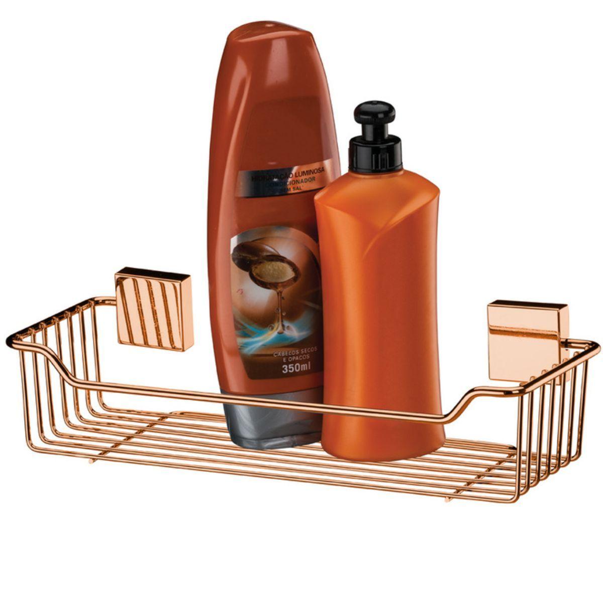 Suporte Para Shampoo e Condicionador Fixação Parafuso - Rosé Gold