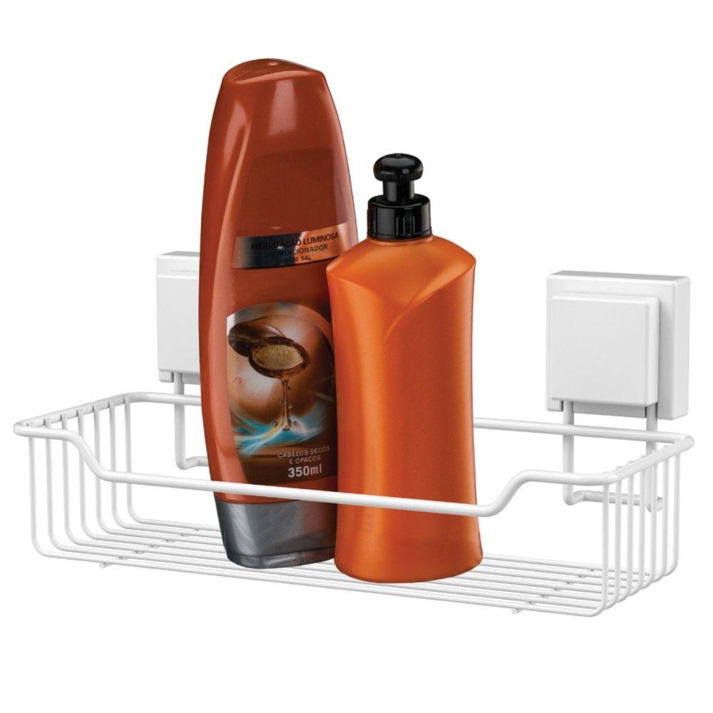 Suporte Para Shampoo Em Metal Fixação Por Ventosa - Branco