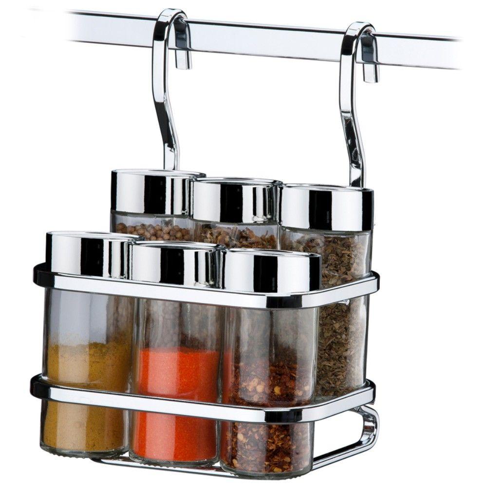 Suporte Para Temperos Condimentos 6 Peças Para Barra De Cozinha - Aço Cromado