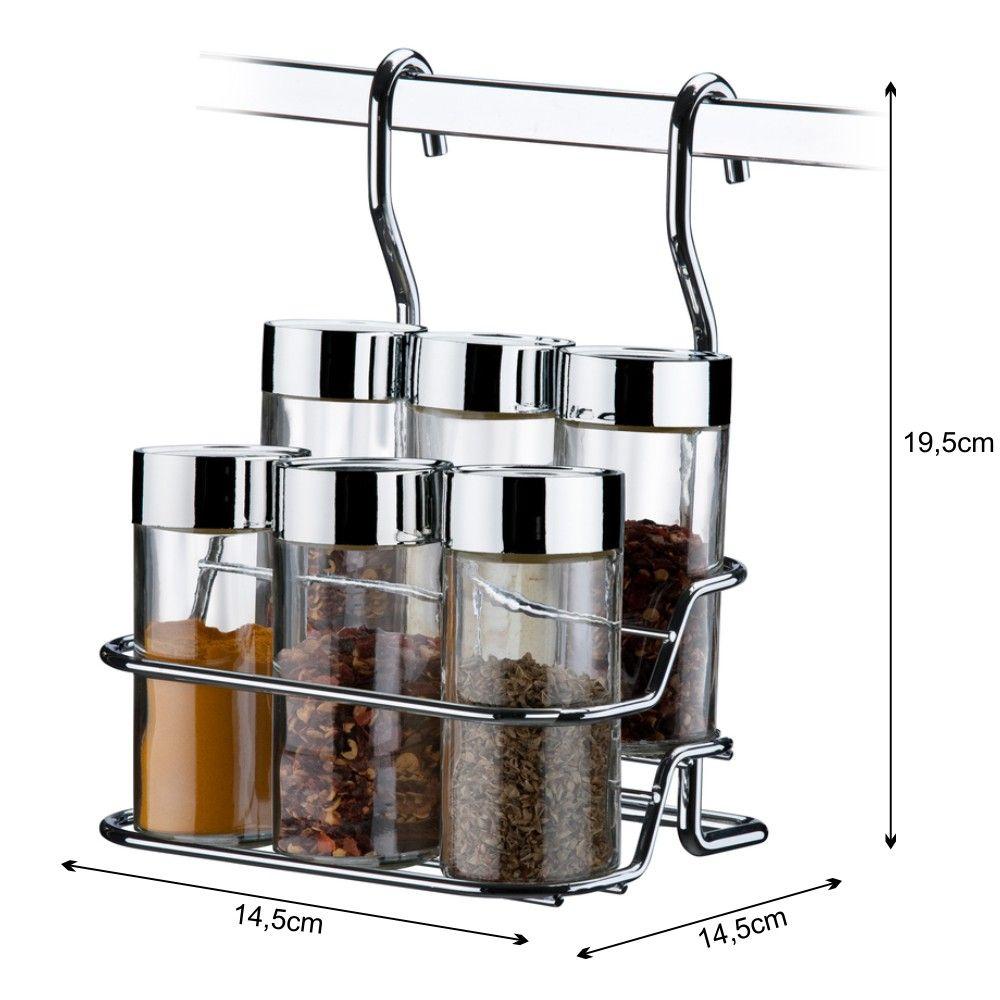 Suporte Para Temperos E Condimentos 6 Peças Para Barra De Cozinha - Aço Cromado