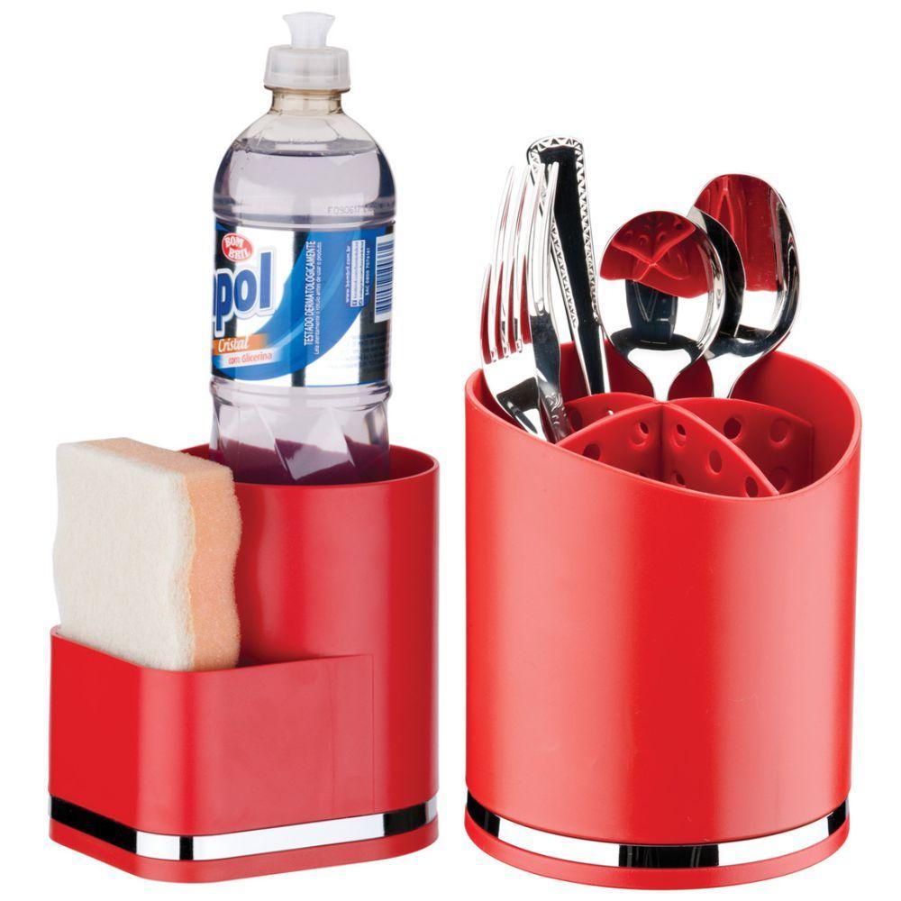 Suporte Para Vidro de Detergente Esponja + Escorredor de Talheres