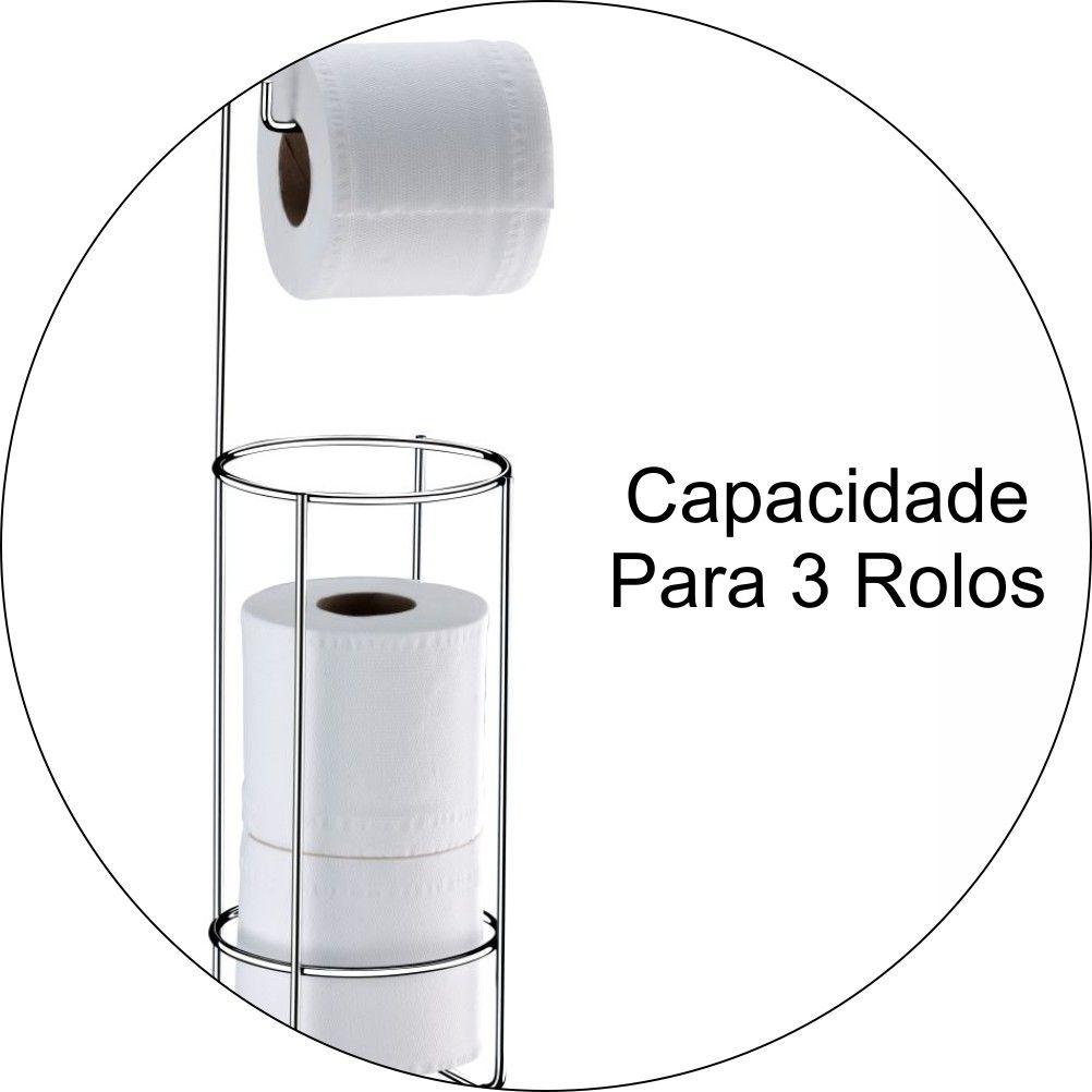 Suporte Porta 3 Papel Higiênico De Chão -  Aço Cromado