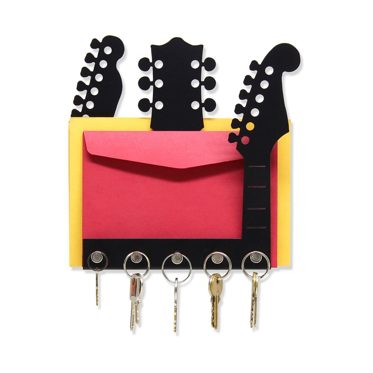 Porta Chaves Organizador de Correspondências Parede  Guitarras