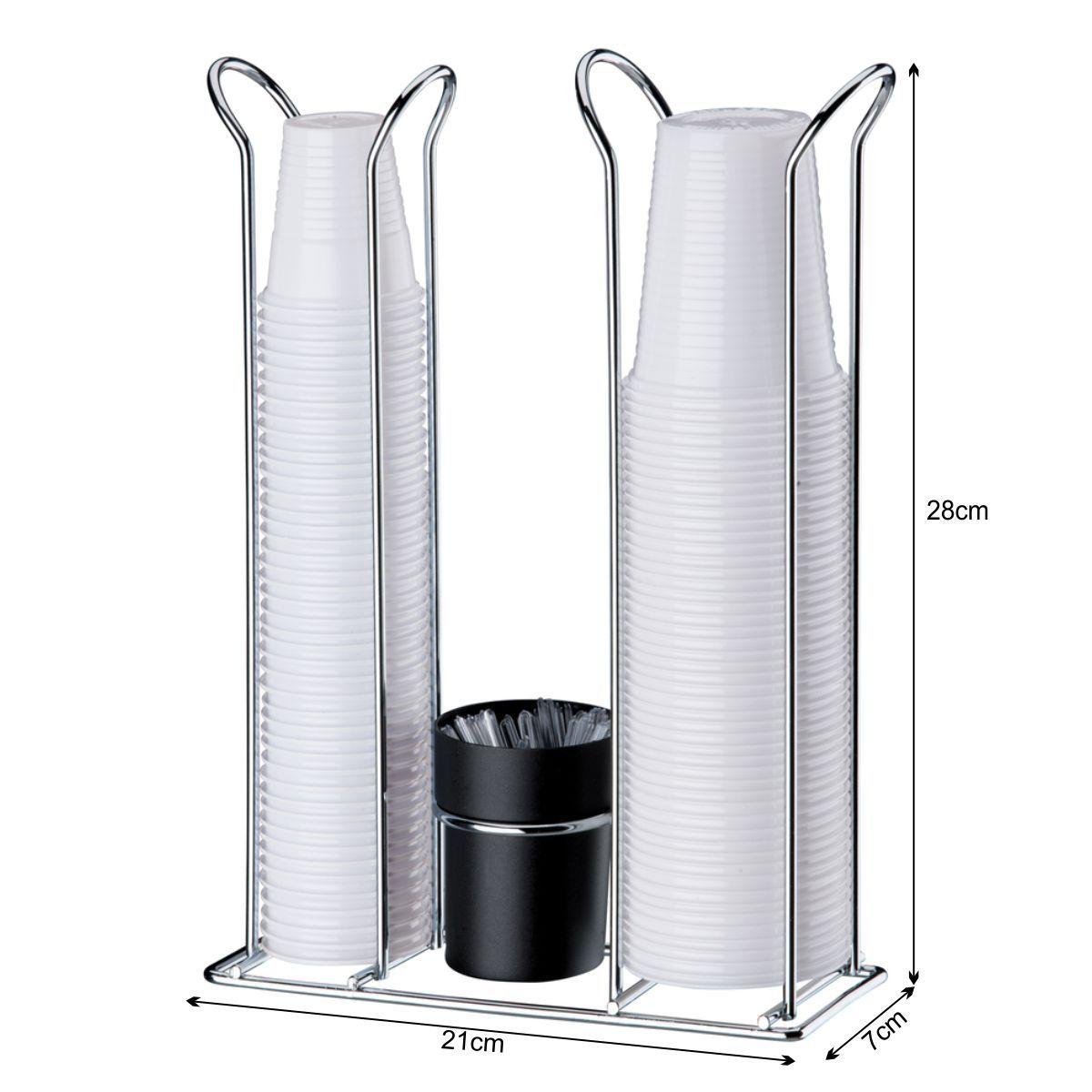 Suporte Porta Copos Descartáveis 200 E 50/80 ml Com Porta Colheres - Aço