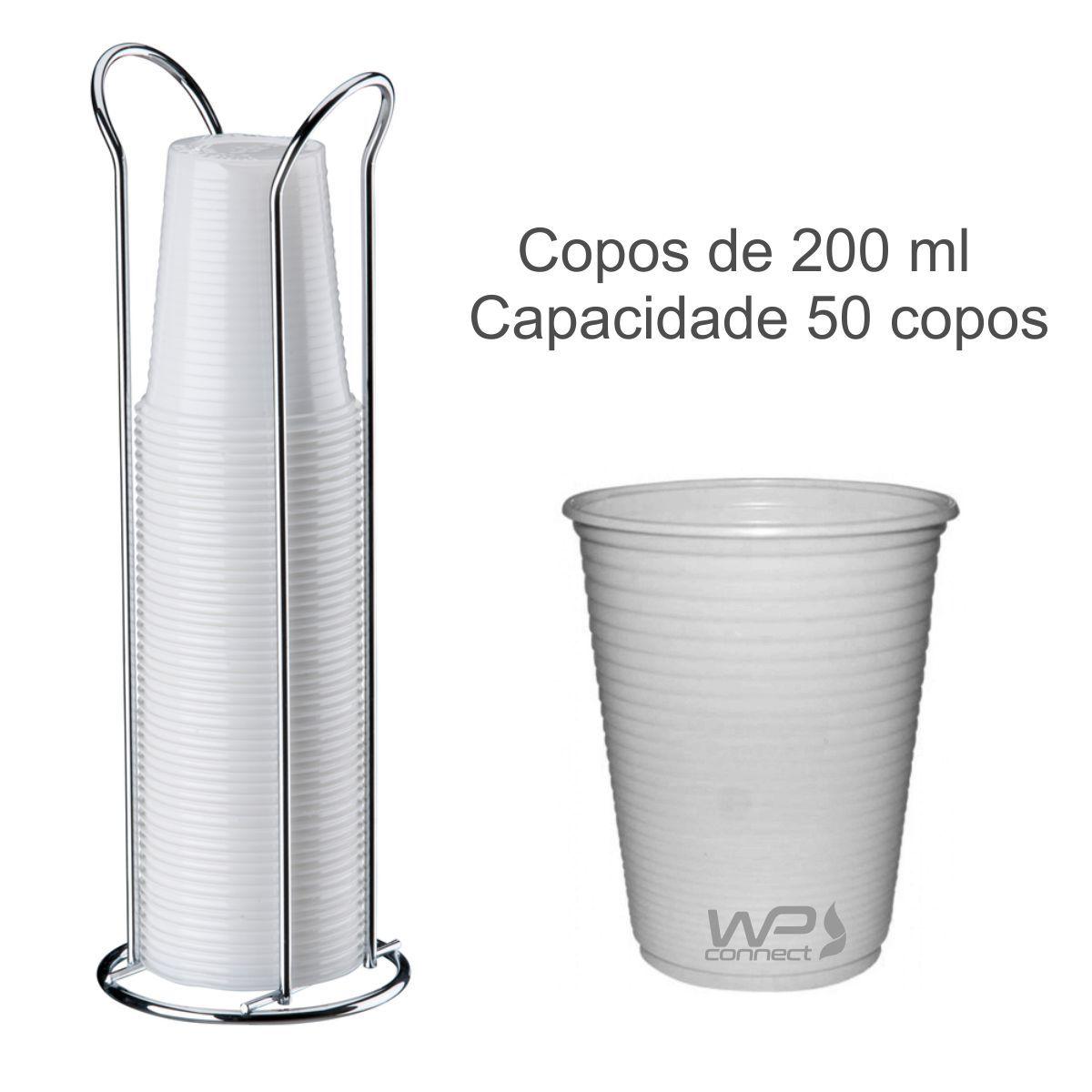 Porta Copos Descartáveis 200 ml De Bancada - Cromado