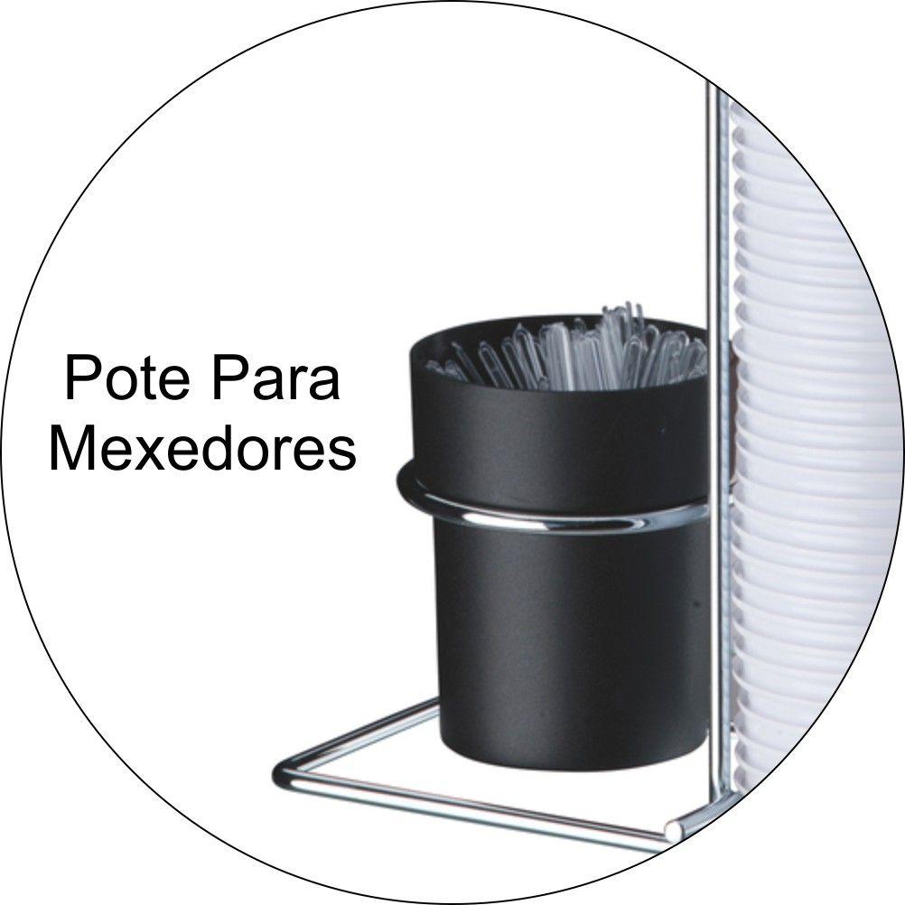 Suporte Porta Copos Descartáveis 50 E 80ml Com Porta Colheres De Bancada - Cromado