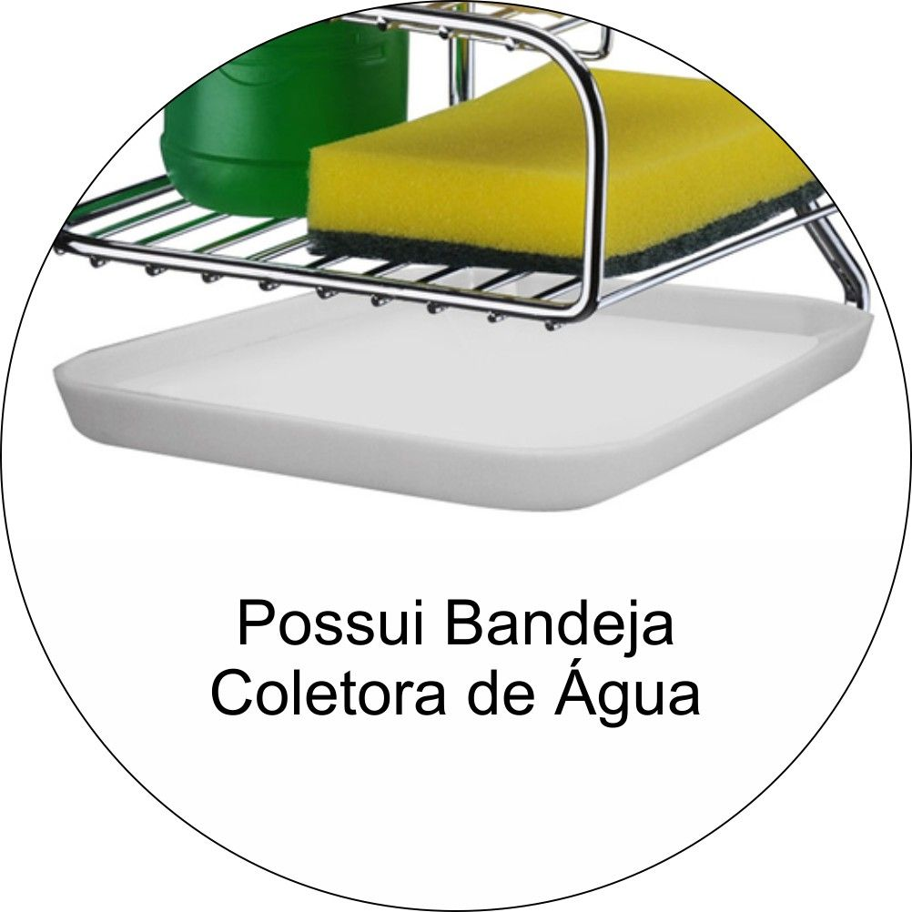 Suporte Porta Detergente Sabão E Esponja Para Barra De Cozinha - Aço Cromado