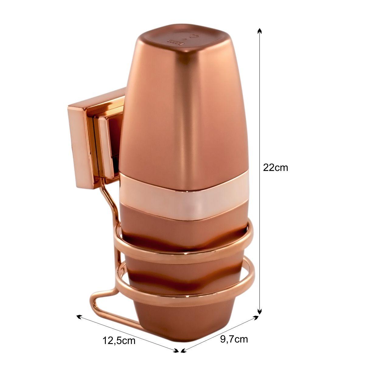 Suporte Porta Escova Fixação Ventosa Rosé Gold