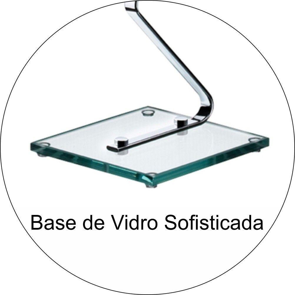 Suporte Porta Papel Higiênico De Chão Base De Vidro  - Aço Cromado