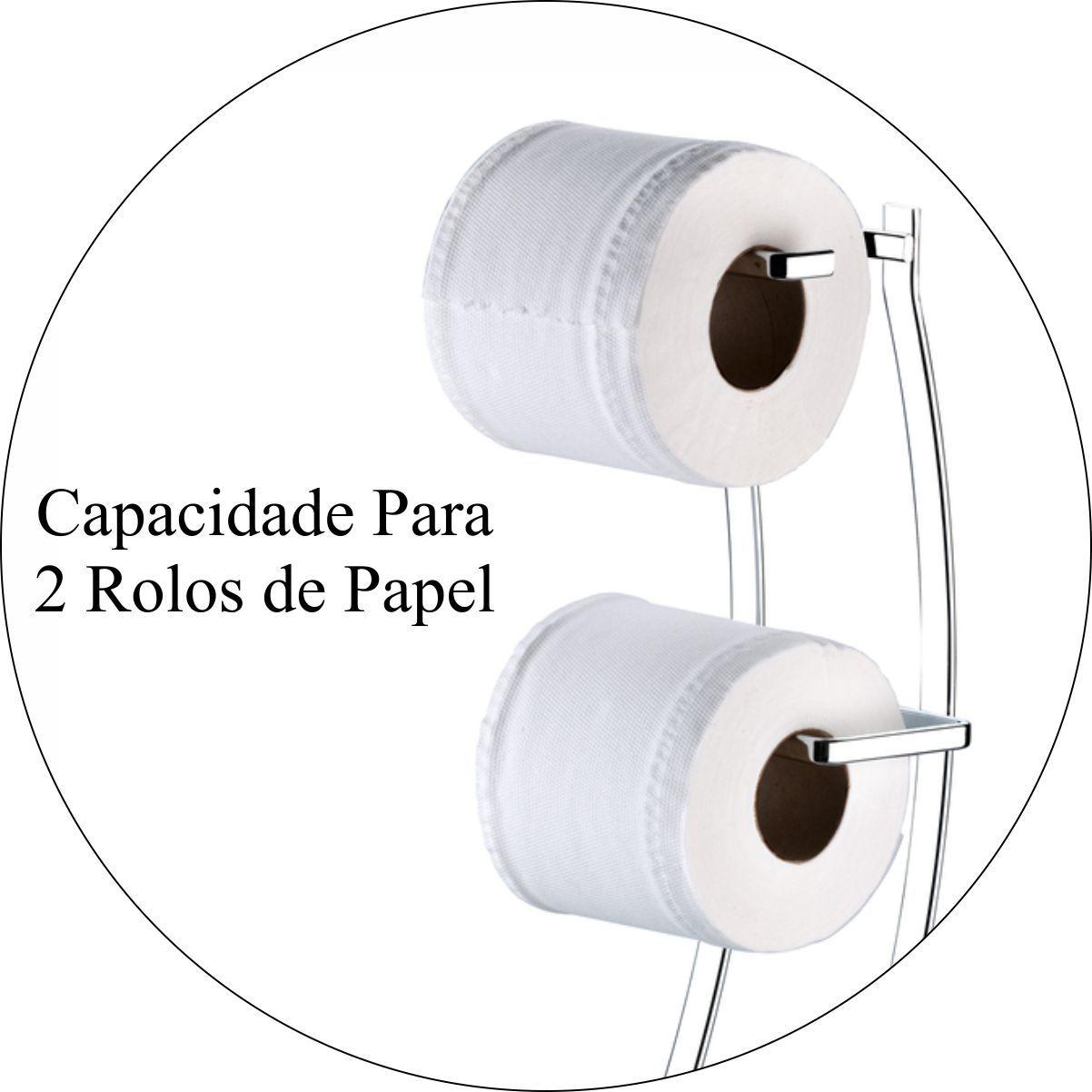 Suporte Porta Papel Higiênico Duplo Bancada/Chão - Aço Cromado