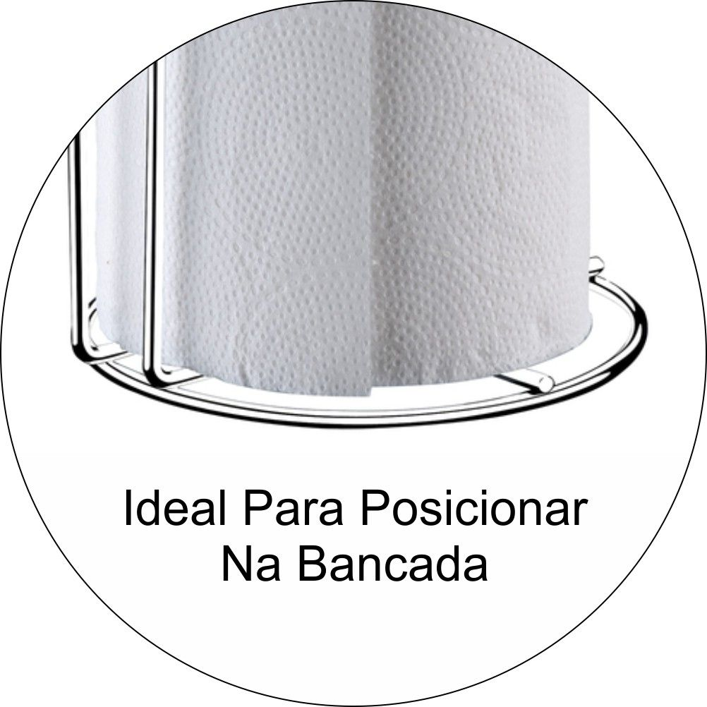 Suporte Porta Rolo De Papel Toalha De Bancada - Cromado