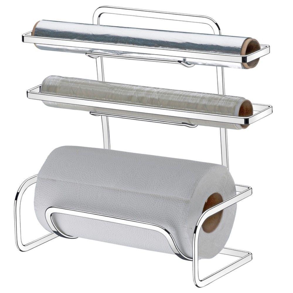 Suporte Porta Rolos Triplo De Bancada ou Parede Papel Toalha Alumínio PVC